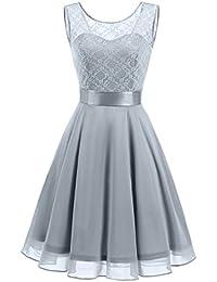 Women's Short Floral Lace Bridesmaid Dress A-line Swing Party Dress