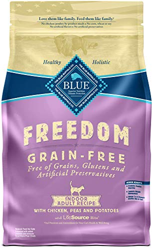 Blue Buffalo Freedom Grain Free Natural Indoor Adult Dry Cat Food, Chicken 5-lb. (Best Food For Cats With Ibs)