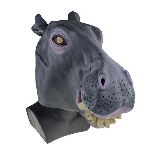 Hippo Head Latex Mask Animal Rubber Halloween Costume Party Cosplay Adult Size Theater Prop