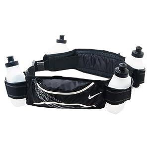Nike Lightweight Running Hydration Belt 4 Bottle (Black/White, OSFM)
