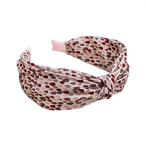 Headband Women Fabric Hairband Casual Bow Ears Head Wrap Hair Band Accessories (40X4, Pink)