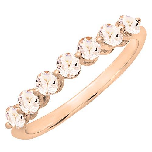 Band Morganite Ring - 10K Rose Gold Round Morganite Ladies 7 Stones Wedding Band Ring (Size 6)