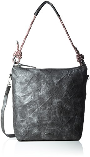 Tamaris Lindsey Hobo Bag, Sacs portés épaule Noir (Black Metallic)