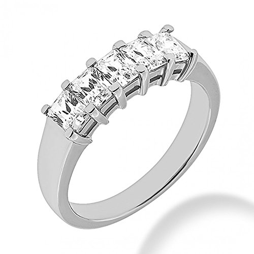 1.80 ct. Ladies Five Stone Emerald Cut Diamond Wedding Band in Shared Prong Mounting in 14 kt White Gold In Size 4