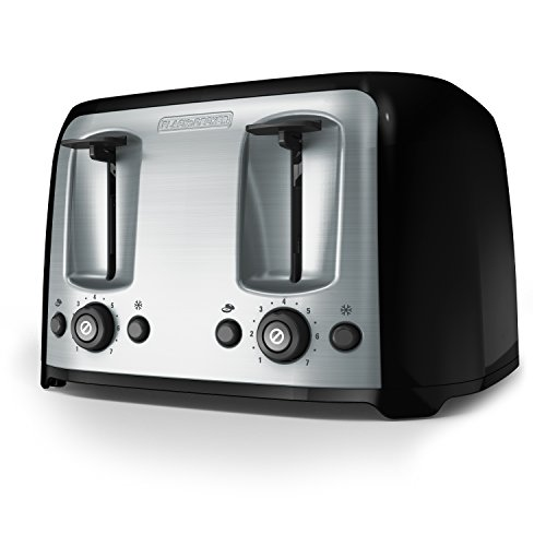 (BLACK+DECKER 4-Slice Toaster, Classic Oval, Black with Stainless Steel Accents,  TR1478BD)