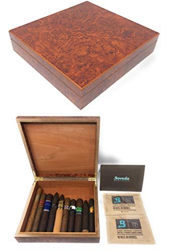 The Chateau 20 Cigar Humidor with Boveda Humidity Control Kit Burled Wood