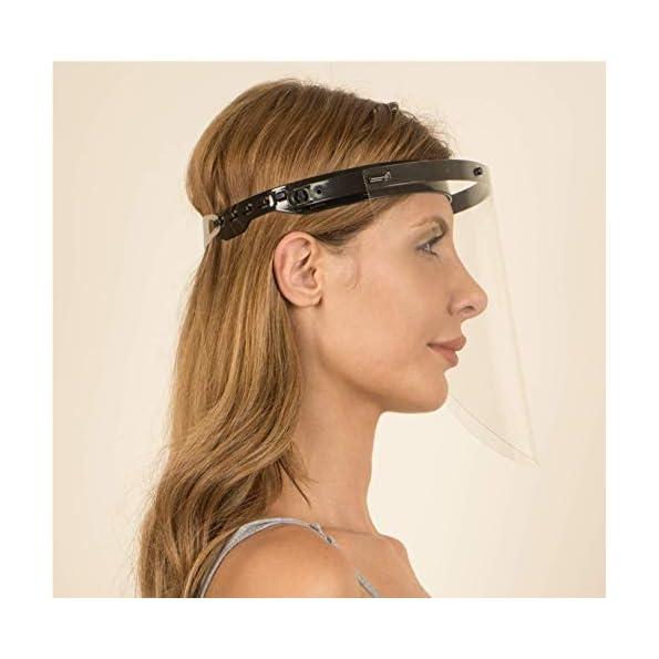 Fredo-2X-Aufklappbar-Gesichtsschtuz-Visier-aus-Kunststoff-2-X-Halter-mit-je-4-Wechselfolien-Face-Shield-Gesichtsvisier-mit-verstellbarem-Gummiband-Fr-MannerFrauenKinder-Schwarz