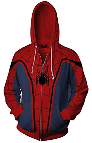 AiK Superhero Halloween Cosplay Costume Mens Hoodie Jacket (RED/Blue, L) for $<!--$32.99-->