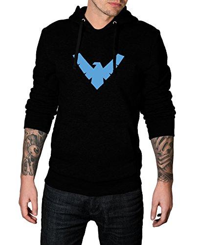 Decrum Men Nightwing Logo Costume for Halloween 2017 - Cosplay Hoodie | Black, (Cosplay Nightwing Costume)