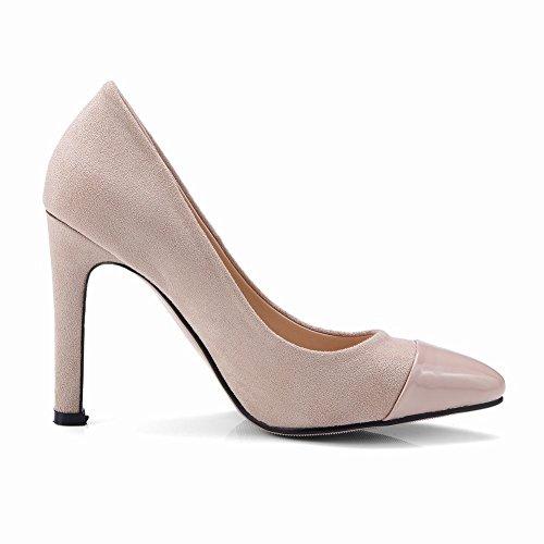 Carolbar Women's Contrast-Stitching Fashion High Heel Evening Court Shoes Beige QduMQlfHGg