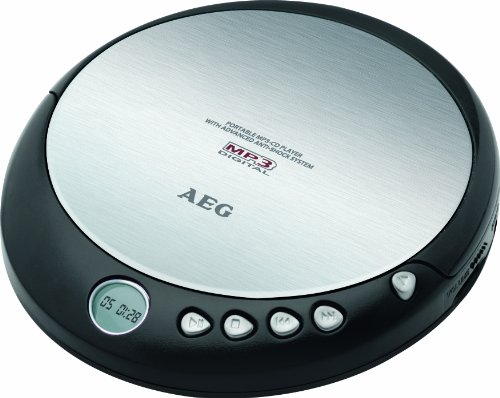 AEG CDP 4226 tragbarer CD-Player (CD-R/-RW, LCD-Display, 3,5mm Klinke) schwarz