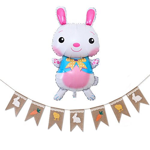 Easter Decorations, Rabbit Carrot Print Natural Burlap Bunting Banner for Easter Christmas Baby Shower Birthday Party Favors Photo Props
