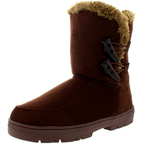Mujer Twin Toggle Classic Short Fur Impermeable Invierno Rain Nieve Botas Marrón