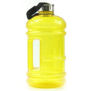 BPA Free High-Capacity Water Bottle 2.2 Liter (68 ounce) Wave Anti-Slip with Nylon Strap Easily Carry for Outdoor Sport Leisure Fitness - Yellow