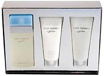 bd652da7 Amazon.com : Light Blue by Dolce Gabbana 3 Piece Gift Set, 3.4 oz Eau de  Toilette Spray, 3.3 oz Body Cream, 3.3 oz Shower Gel : Body Scrubs : Beauty