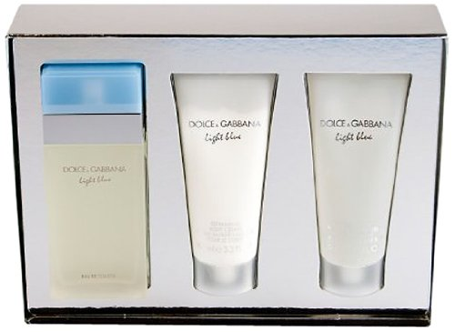 - Light Blue by Dolce Gabbana 3 Piece Gift Set, 3.4 oz Eau de Toilette Spray, 3.3 oz Body Cream, 3.3 oz Shower Gel