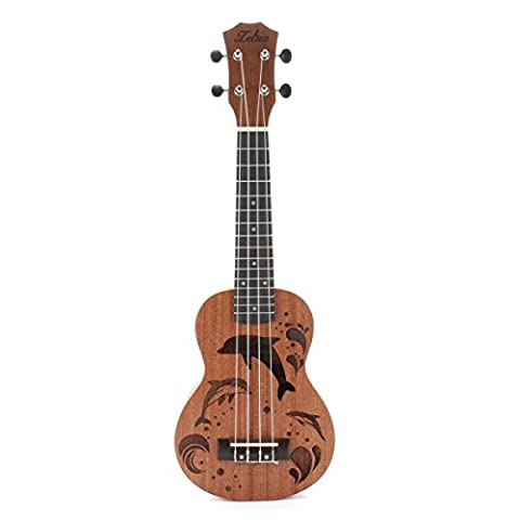 Zebra 21 inch 15 Frets Soprano Ukulele Uke 4 Nylon Strings Sapele Guitar - Rosewood Fingerboard Mahogany Neck - Dolphin Pattern Universal Acoustic Musical (Uke Soprano Strings)