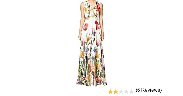 Sexy Deep V-Neck Sleeveless Empire Waist Long Maxi Beach Dress Sundress White at Amazon Womens Clothing store: