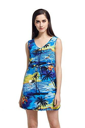 Hawaii Hangover Tunic Slip On Luau Dress with Tie in Sunset Blue