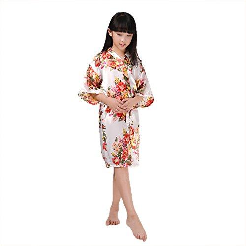 Girls Stain Kimono Flower Robe Bathrobe Nightwear for Spa Wedding Dressing Gown