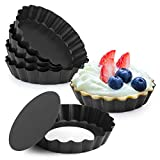 Laxinis World 4' Quiche Pans with Removable Bottom, Non-stick, Fluted Sides, Mini Tart Pans, Set of 6
