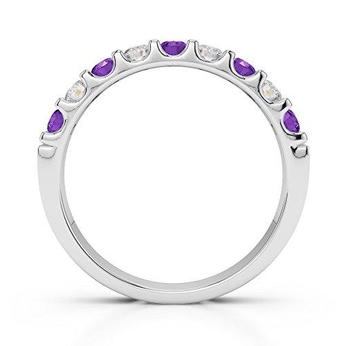 Or blanc 18carats 0.29CT G-H/VS Certifié Coupe ronde Améthyste et diamants Agdr-1108