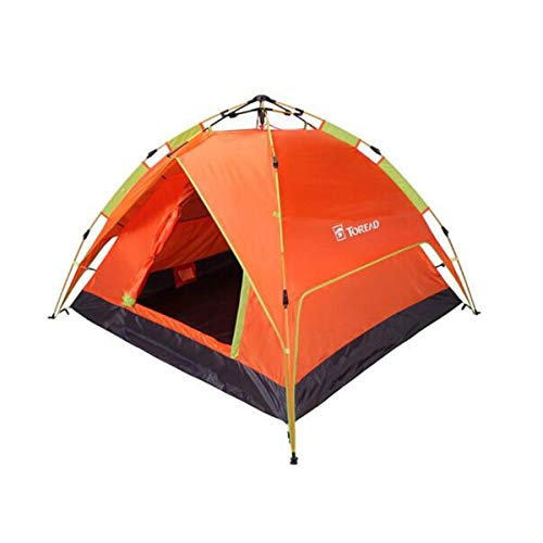 Hengxiang Camping Tent, Outdoor Four Seasons Universal Camping Mountaineering Hydraulic Speed Open Tent, Orange, 3-4 People Outdoor Sports Tent Camping Sun Shelters