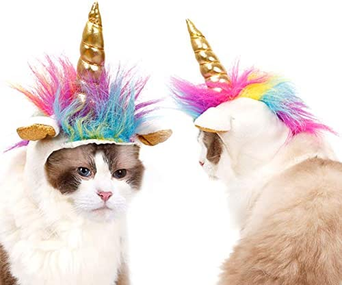 NACOCO Cat Unicorn Hat with Ear Hole for Small Dogs Puppy, Cat Costume Accessory for Halloween, Cosplay Mane Cap 18