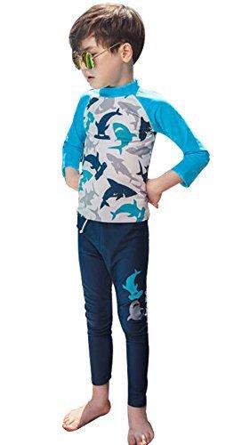 UNIQUEONE Baby Boy Two Piece Long Sleeve Rash Guard Sun Protection Swimsuit Set UPF 50+