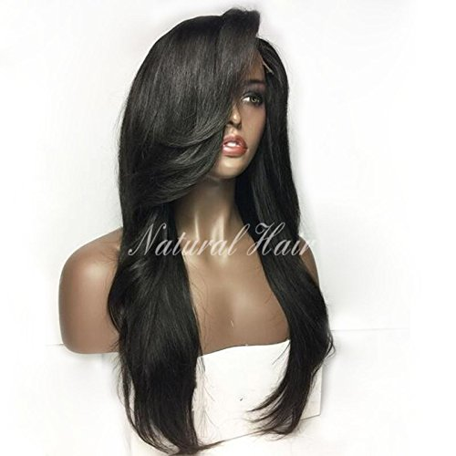 Brazilian Straight Human Hair Lace Front Wigs with Baby Hair for Black Women 130% Density Remy Human Hair Natural Color (14 inch, full lace wig) by Dream Beauty
