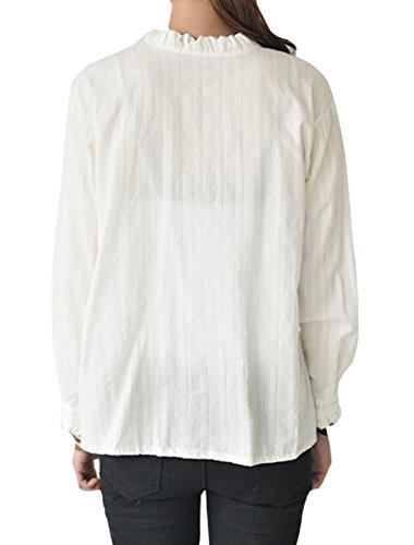 Sourcingmap Femme Col Hérissé Veste Droite Design Rayures Chemisier - Synthétique, Blanc, 40% Coton 60% Polyester, Femmes, XS (UK 2)