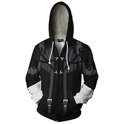 VOSTE Sora Aqua Costume Halloween Game Cosplay Zip Up Hoodie Jacket (Medium, Color 12) -