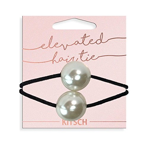 Kitsch Large Metal Double Bead Hair Tie, 1 Count (Pearl)