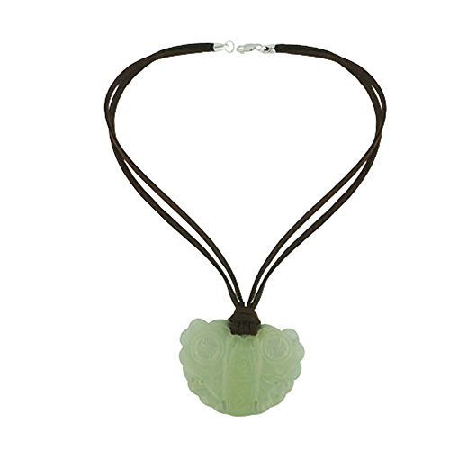 .925 Sterling Silver Nature Green Jade Carved Cicadas Drop Brown Genuine Leather Necklace (Leather Jade)