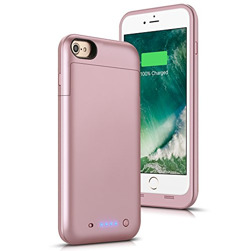 iPhone 6 Plus / 6S Plus Battery Case, SHENMZ Ultra Slim 6800mAh Protable Extended Backup Battery Charger Case Rechargeable Power Bank Charging Case for iPhone 6s Plus / 6 Plus 5.5- Rose Gold