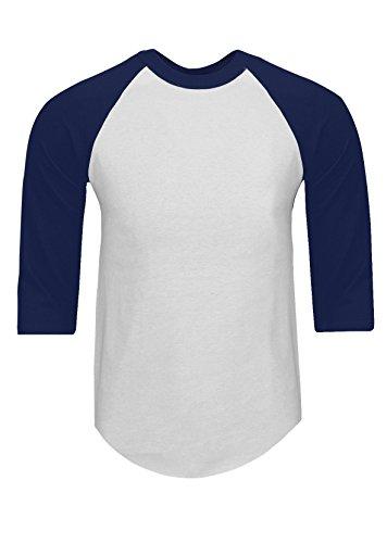 Cotton 3/4 Sleeve Baseball Shirt - RA0103_5X Baseball T Shirts Raglan 3/4 Sleeves Tee Cotton Jersey S-5XL White/Navy 5X