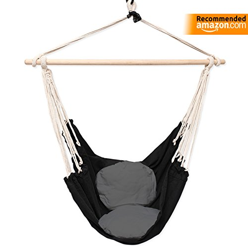Celler Premium HANGING ROPE HAMMOCK CHAIR SWING SEAT suitable for both indoor and outdoor use, Black with two round and comfortable cushions in white or gray color (SAFETY HITCH INCLUDED) (Gray)