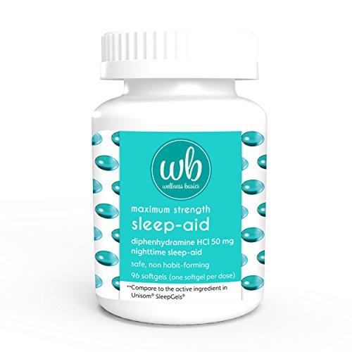 Wellness Aid Sleep - Wellness Basics Maximum Strength Sleep-Aid Diphenhydramine Softgel, 96 Count