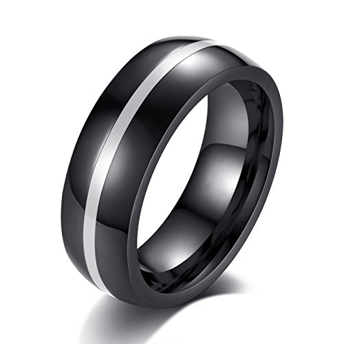 (REVEMCN 8mm Black Stainless Steel Thin Line Polished Finish Wedding Band Ring for Men Women, 4 Color (White, 11) )