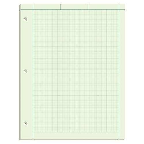 Ampad Evidence Engineering Pad, 100 Sheets, 5 Squares Per Inch, Green Tint, 11