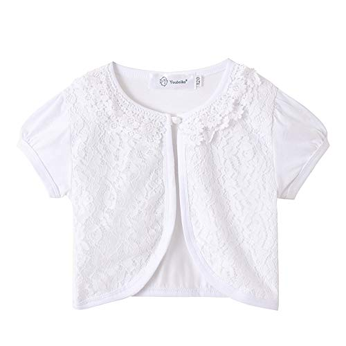 ZHUANNIAN Little Girls Bolero Short Sleeve Cap Lace Top (7-8, White Short Sleeve)]()