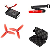 Li-Po Battery 7.4V 850mAh 25C 2S 2-Cell Power Pack and 70mm Tri-Blade Three Blade Propellers Props Main Rotor Propeller Blades Strap Holder Harness Fastener Rodeo 110-Z-21 110-Z-20 110-Z-01 with Shoc