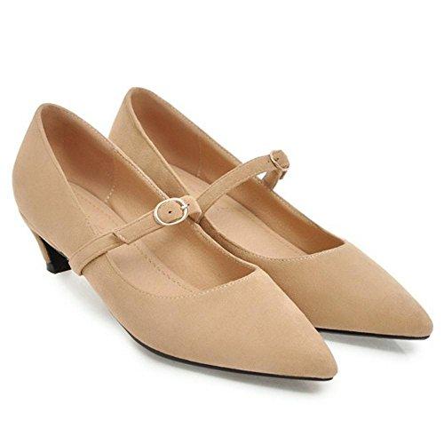 Heel Pumps Toe Shoes Women apricot TAOFFEN Pointed Mid EqSHOnxwpv
