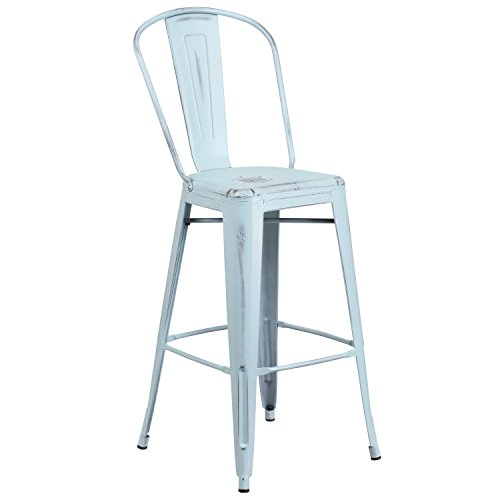Flash Furniture 30'' High Distressed Green-Blue Metal Indoor-Outdoor Barstool with Back by Flash Furniture