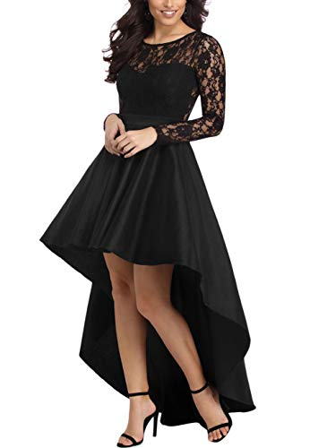 Women Evening Dresses Long Sleeve Lace Bodice Formal Hi-Low Prom Party Dress Black M