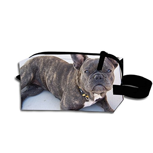 - Brindle French Bulldog Makeup Pouch Portable Travel Cosmetic Bags Durable Waterproof Pencil Case