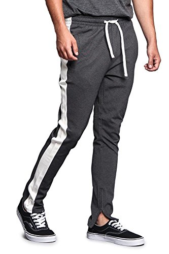 - Men's Premium 4-Way Extra Stretchy Ankle Zip Contrast Outer Side Stripe Slim Fit Drawstring Track Pants TR526 - Charcoal/Off-White - Medium - G15B