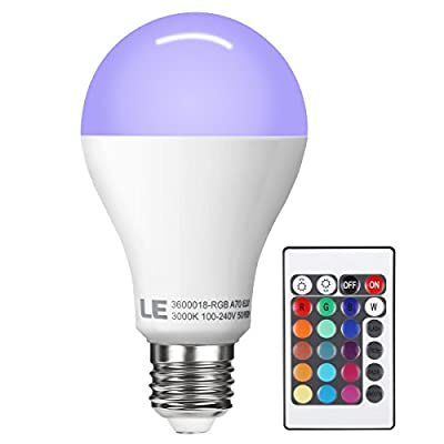 LE Dimmable A21 E26 LED Bulbs, RGB, Color Changing, 60W Incandescent Bulb Equivalent, 10W, 180° Beam Angle, 800lm, 16 Color Choice, Remote Controller Included, LED Light Bulbs