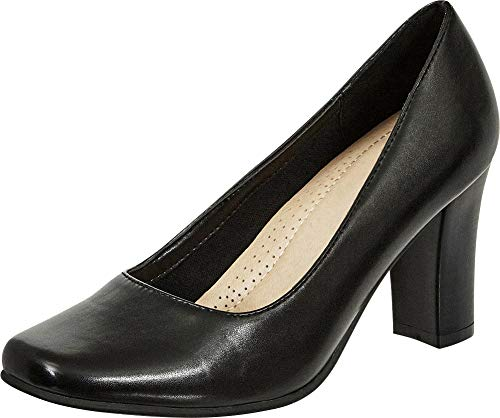 Buy square toe chunky heel pumps