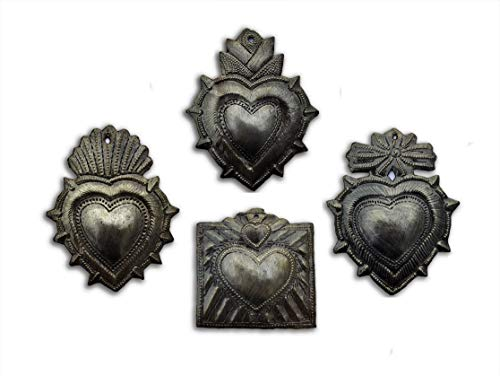 (Small Hearts, Haitian Metal Milagro Charms, (Set of 4), Love and Friendship, Unique Gifts, Handmade in Haiti, (Small Heart Sets))